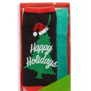 HUE Happy Holidays Footsie Gift Socks Gift Box NEW